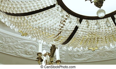 Expensive crystal chandelier - Panorama of expensive crystal...