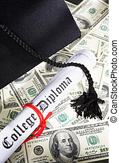 Expensive Education concept - Graduation hat, and diploma...