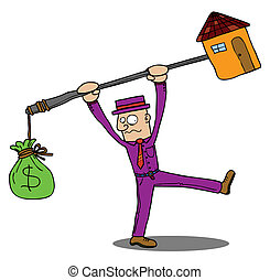 The man seems to be frustrated about the expensive house. Eps 8 Vector file