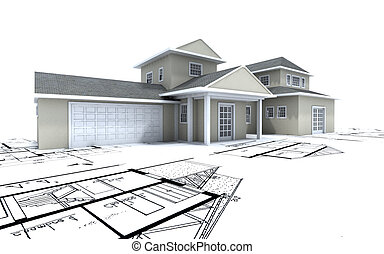 Expensive house with garage on blueprints - 3D-rendering of...