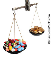 Expensive medicine - Scales with medicine and golden coins