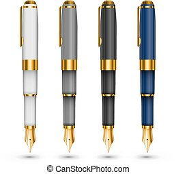 Expensive pens - Set of expensive fountain pens isolated on...