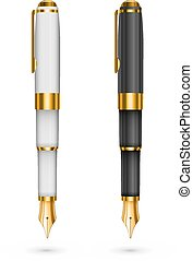 Two expensive ink pens isolated, black and white with gold. Vector illustration