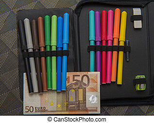 expensive school theme, pencil case with euro money