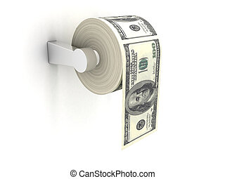 Expensive toilet paper - 3D rendering of a toilet paper made...