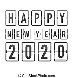 experiência., 2020., ano, cartões., modelo, relógio, contagem regressiva, retro, saudação, pretas, illustration., vetorial, novo, inverter