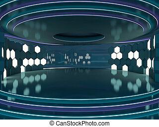 experiência., abstratos, arquitetura moderna, 3d