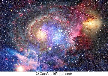 experiência., abstratos, galáxia, nebula., espaço