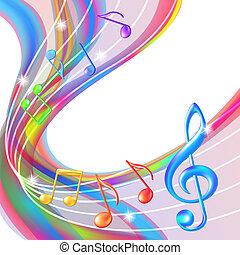 experiência., abstratos, notas música, coloridos
