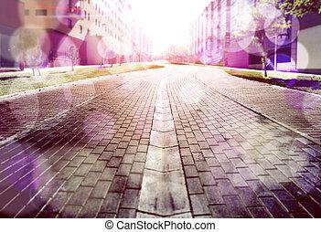 experiência., abstratos, rua, chão
