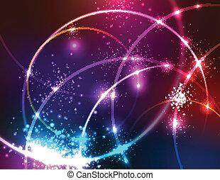 experiência., abstratos, sparkly