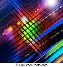 experiência., abstratos, technology-style, coloridos
