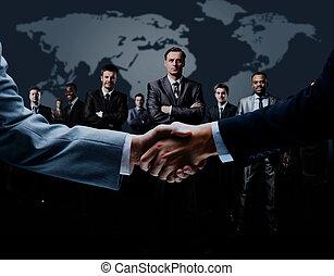 experiência., aperto mão, isolado, negócio
