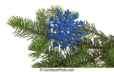 experiência azul, árvore, isolado, snowflake, ramo, christmas branco