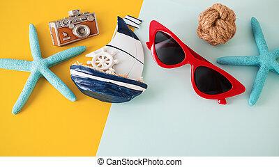 experiência azul, óculos de sol, acessórios, amarela