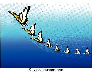 experiência azul, com, borboletas