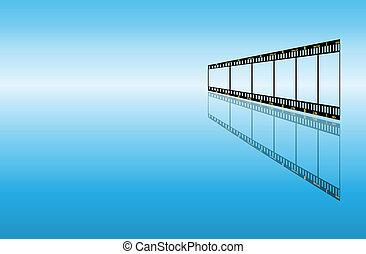 experiência azul, com, filmstrip