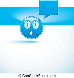 experiência azul, com, smiley