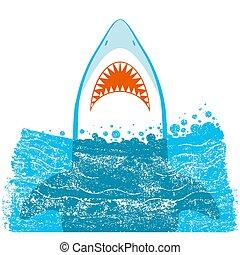 experiência azul, ilustração, vetorial, jaws., tubarão