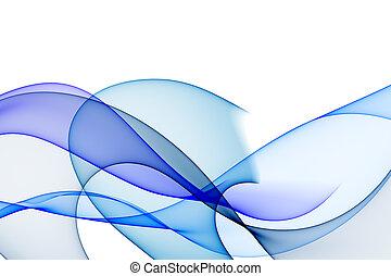 experiência azul, liso, tons, ondas, branca