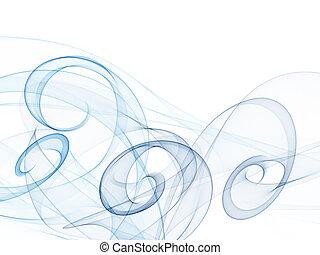 experiência azul, liso, tons, ondas, redemoinho, branca