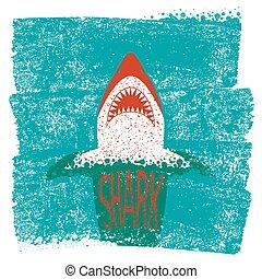 experiência azul, mar, ondas, vetorial, jaws., tubarão