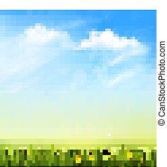 experiência azul, natureza, primavera, céu, clouds., verde, vector., capim