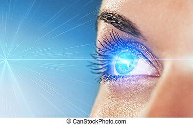 experiência azul, olho, dof), (shallow