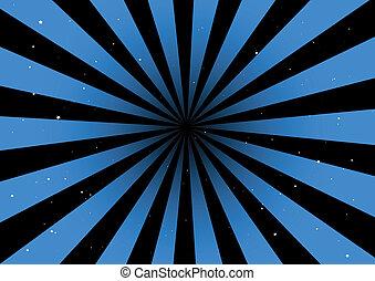 experiência azul, raios, vetorial