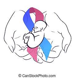 experiência., baby., fita, mão, mulher, maternidade, festivo...
