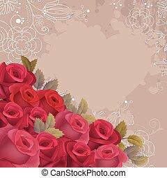 experiência bege, com, realístico, rosas vermelhas
