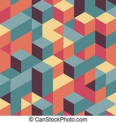 experiência., blocos, estrutura, 3d