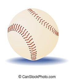 experiência., bola branca, basebol, isolado