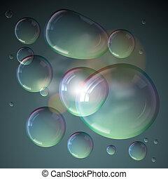 experiência., bolhas, sabonetes, cinzento, isolado