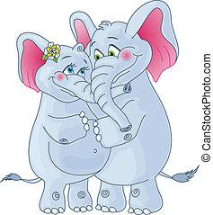 experiência., branca, amando, par., elefantes