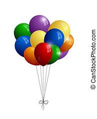 experiência., branca, balões, isolado, grupo