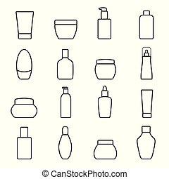 experiência., branca, bottles., isolado, cosmético