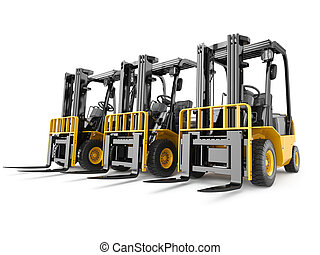 experiência., branca, caminhão forklift, isolado