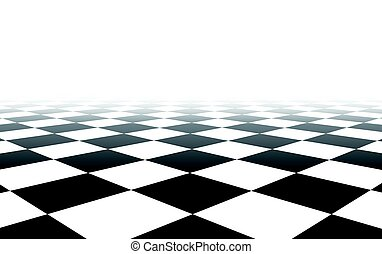 experiência., branca, checkered, pretas, perspectiva