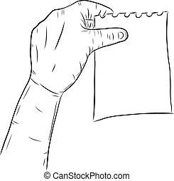 experiência., branca, correspondência-isto, mão
