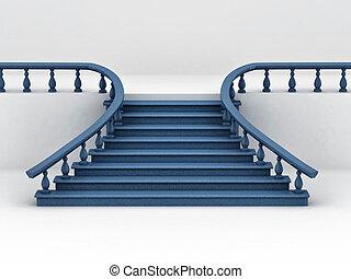 experiência., branca, escadas, 3d