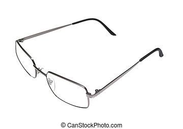 experiência., branca, isolado, óculos