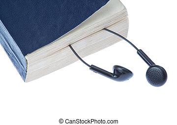 experiência., branca, manual, headphones.