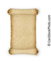 experiência., branca, papel, antigas, scroll