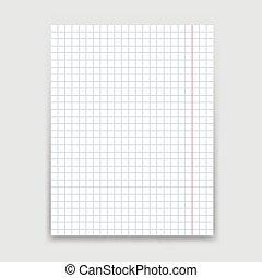 experiência., branca, papel, folha, em branco
