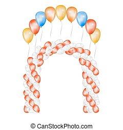 experiência., branca, vetorial, balões, ilustração