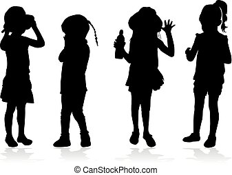 experiência., branca, vetorial, silueta, crianças