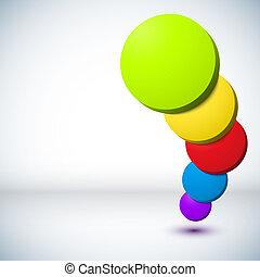 experiência., círculo, coloridos, 3d