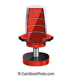 experiência., cadeira, branca, isolado, vermelho