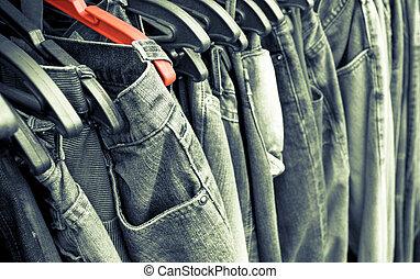 experiência., calças brim